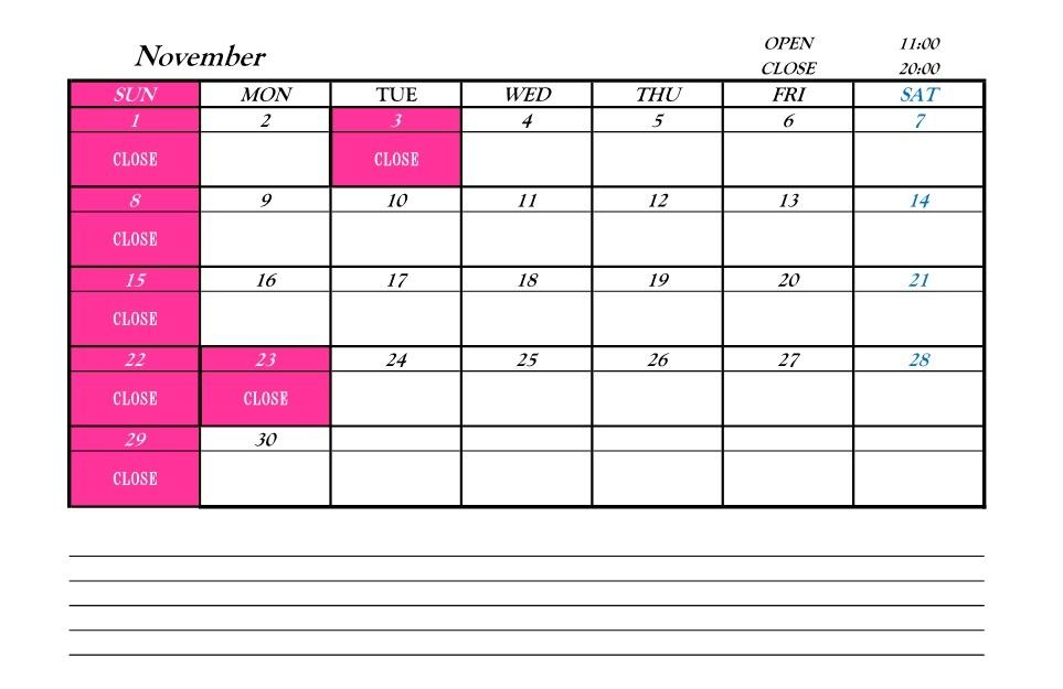 営業カレンダー201511
