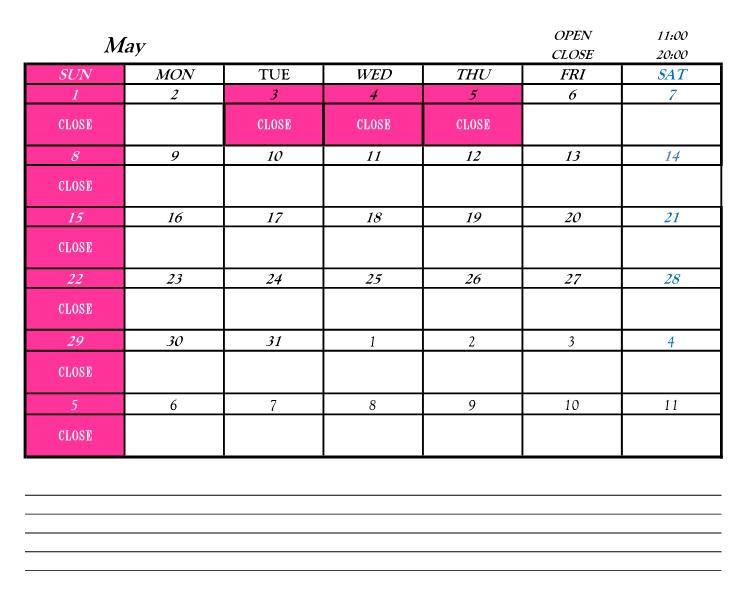 営業カレンダー201605